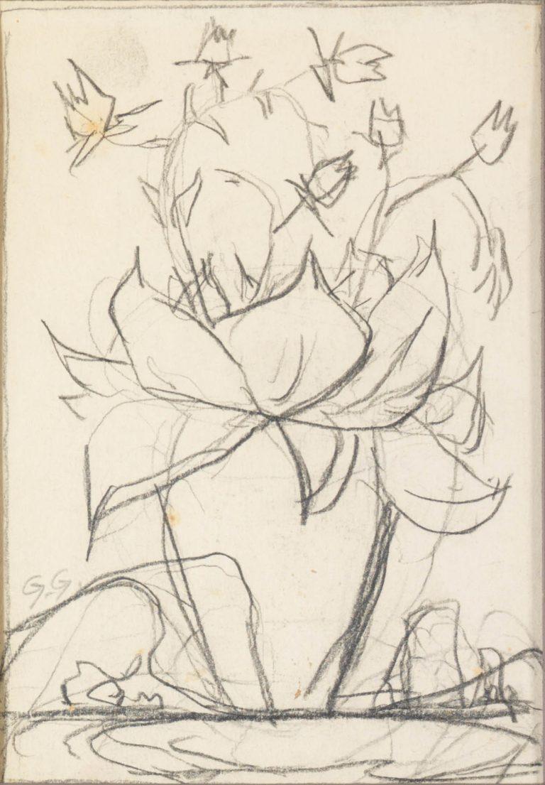 Μελέτη Ι Βάζο με λουλούδια κάρβουνο και μολύβι σε χαρτί 17,5 x 12,5 εκ.