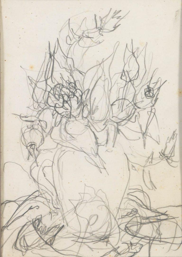 Μελέτη XI Βάζο με λουλούδια μολύβι σε χαρτί 17,5 x 12,5 εκ.
