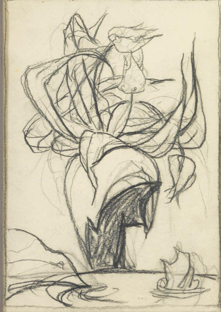 Μελέτη XII Βάζο με λουλούδια κάρβουνο και μολύβι σε χαρτί 17,5 x 12,5 εκ.