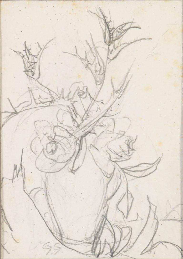 Μελέτη ΙΙΙ Βάζο με λουλούδια μολύβι σε χαρτί 17,5 x 12,5 εκ.