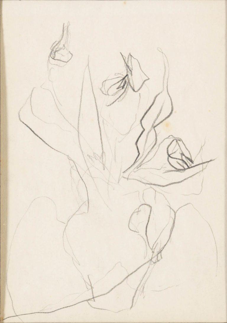 Μελέτη VI Βάζο με λουλούδια κάρβουνο και μολύβι σε χαρτί 17,5 x 12,5 εκ.