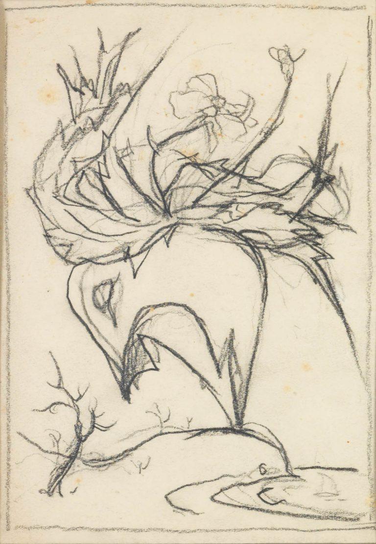 Μελέτη VII Βάζο με λουλούδια κάρβουνο και μολύβι σε χαρτί 17,5 x 12,5 εκ.