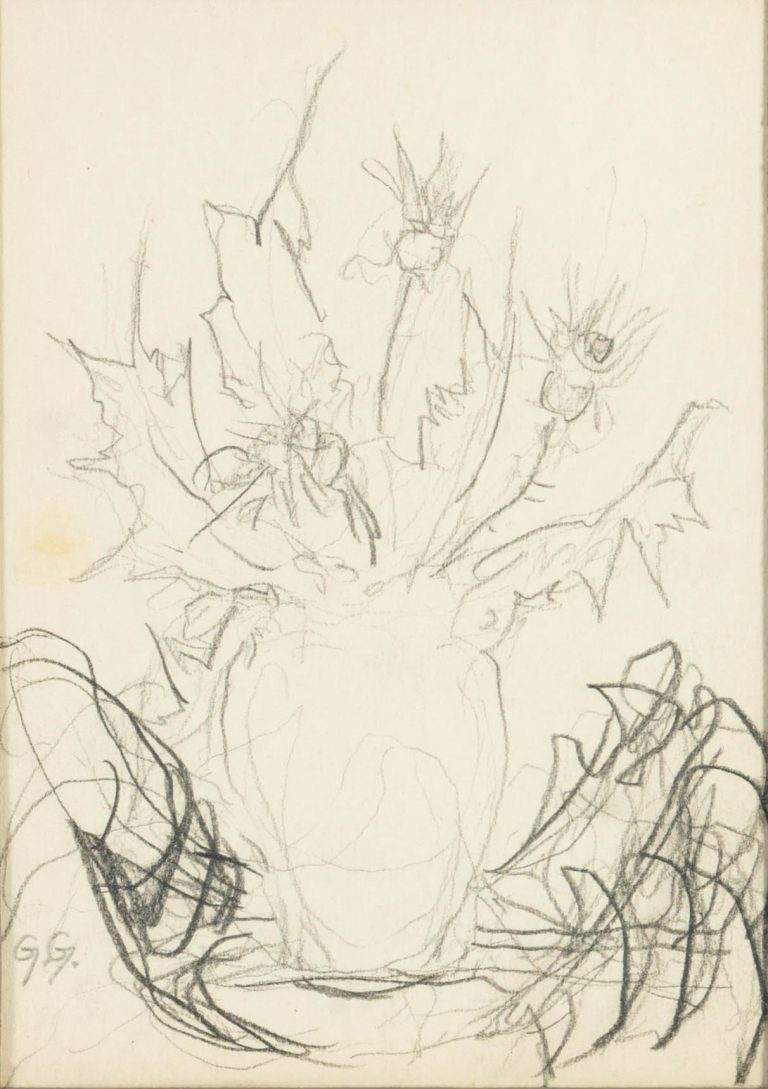 Μελέτη VIII Βάζο με λουλούδια κάρβουνο και μολύβι σε χαρτί 17,5 x 12,5 εκ.