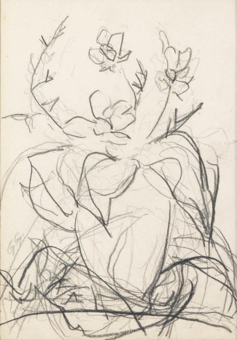 Μελέτη IX Βάζο με λουλούδια κάρβουνο και μολύβι σε χαρτί 17,5 x 12,5 εκ.