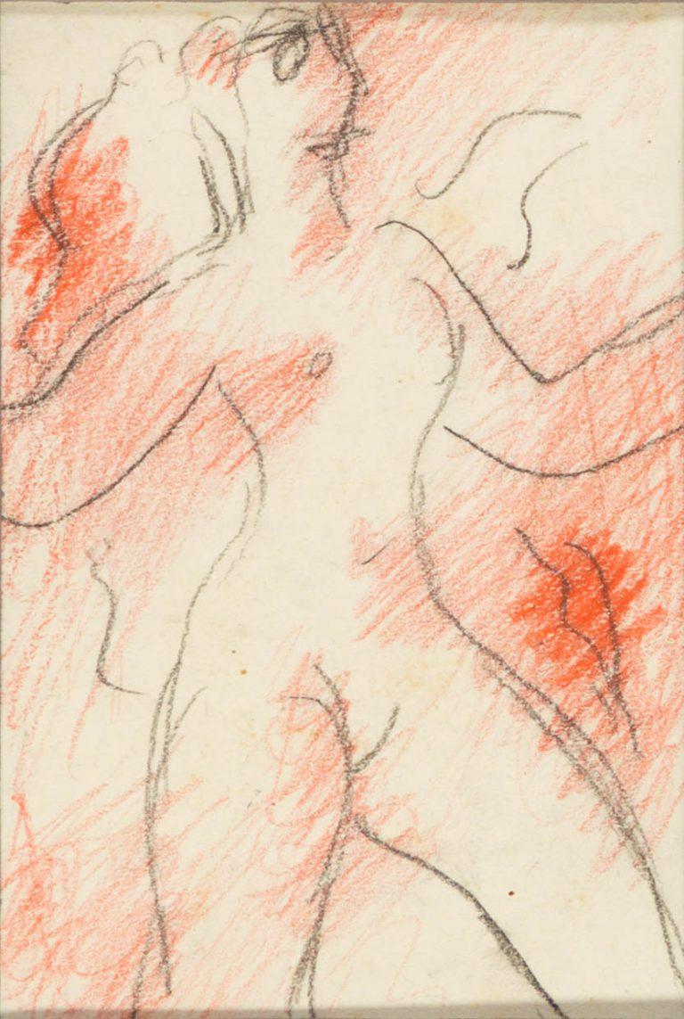 Μελέτη XI Γυναικεία μορφή κραγιόνι και μολύβι σε χαρτί 12,5 x 8,5 εκ.
