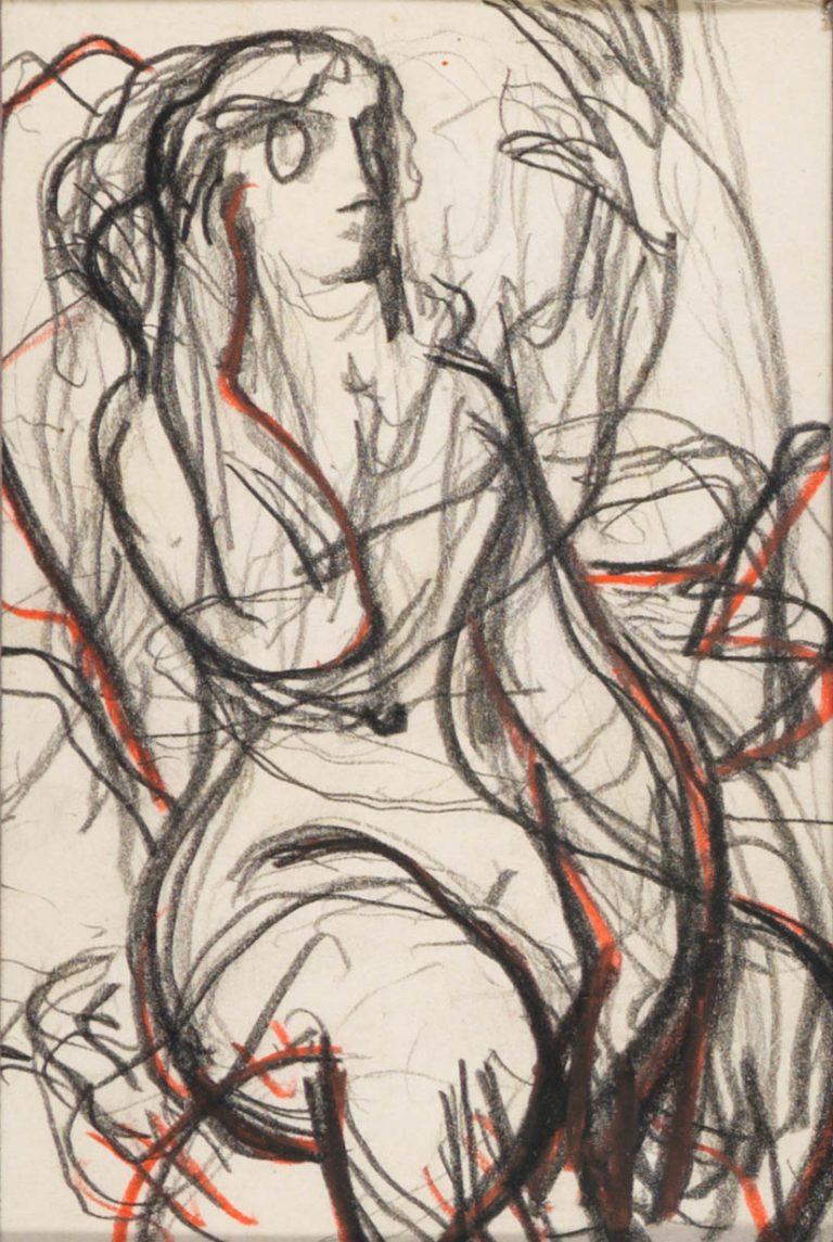 Μελέτη VI Γυναικεία μορφή κάρβουνο, κραγιόνι και μολύβι σε χαρτί 12,5 x 8,5 εκ.