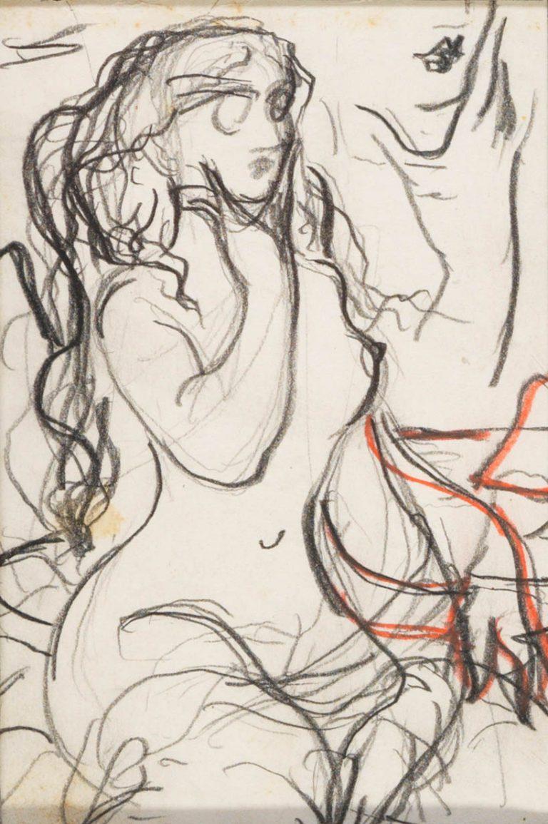 Μελέτη VII Γυναικεία μορφή κάρβουνο, κραγιόνι και μολύβι σε χαρτί 12,5 x 8,5 εκ.