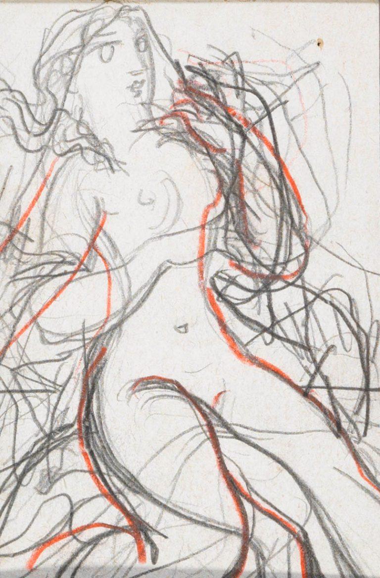 Μελέτη VIII Γυναικεία μορφή κάρβουνο, κραγιόνι και μολύβι σε χαρτί 12,5 x 8,5 εκ.