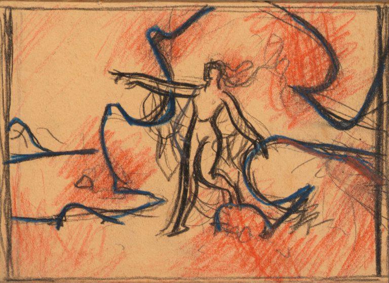 Μελέτη I Τοπίο με γυναικεία μορφή κάρβουνο, χρωματιστά κραγιόνια και μολύβι σε χαρτί 13 x 17 εκ.