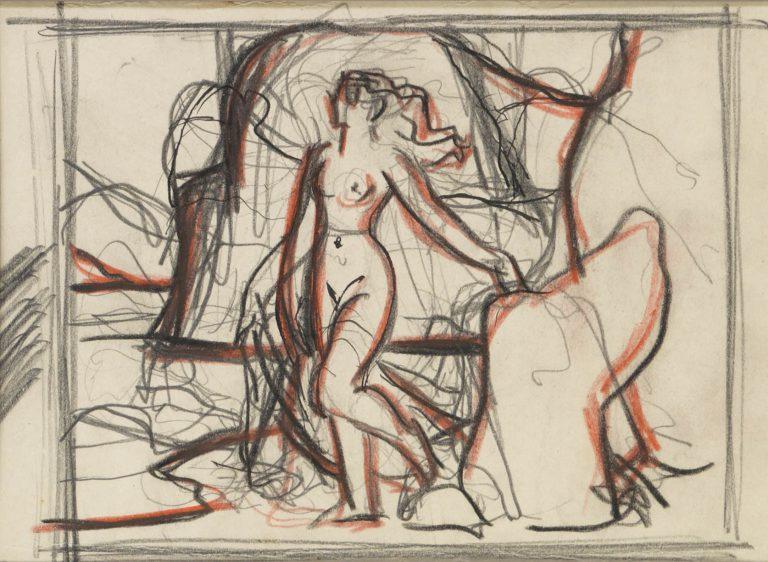 Μελέτη XII Τοπίο με γυναικεία μορφή κάρβουνο, χρωματιστά κραγιόνια και μολύβι σε χαρτί 13 x 17 εκ.