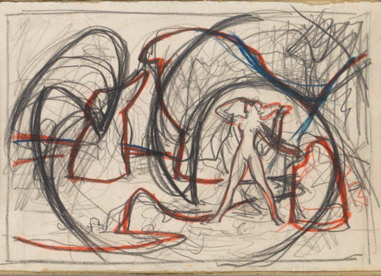 Μελέτη VIII Τοπίο με γυναικεία μορφή κάρβουνο, χρωματιστά κραγιόνια και μολύβι σε χαρτί 13 x 17 εκ.